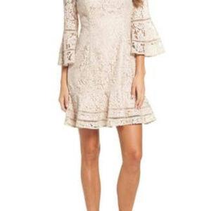 Eliza J Lace Bell Sleeve Dress BEIGE Size 14